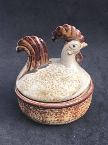 Boite céramique poule avec couvercle figurine poulet danois