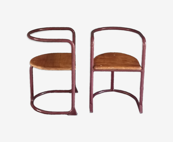 Pair of 50s children's chairs in tube