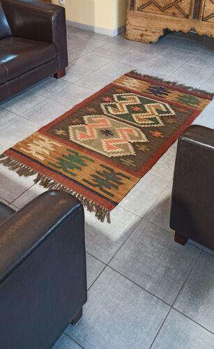 Tapis Kilim en coton et toile de jute - 90cm x 160cm
