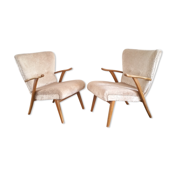 Selency Lot de 2 fauteuils années 50 cocktail Wing chair Zig Zag Vintage restaurés