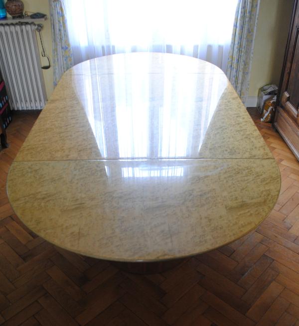 Table de salle à manger Saporiti de Giovanni Offredi en loupe d'érable
