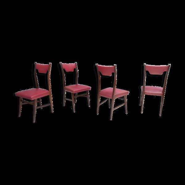 Ensemble de quatre chaises à manger Skai en hêtre et crimson rouge Italie années 1950