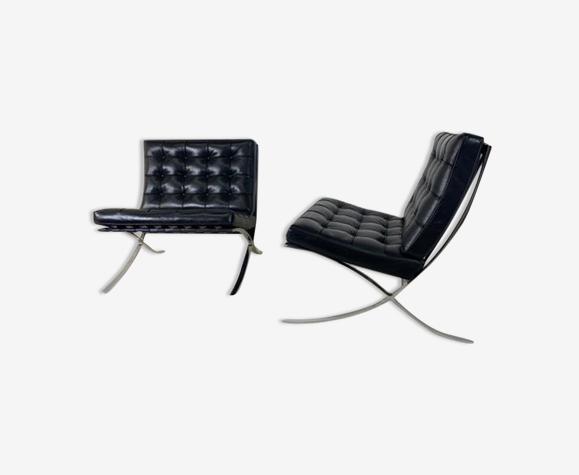 Paire de chaises Barcelona vintage Ludwig Mies Van der Rohe