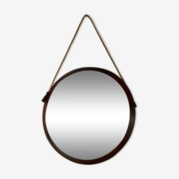 Miroir italien en bois et corde, 1960 - 51cm