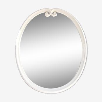 White metal oval mirror 49x39cm