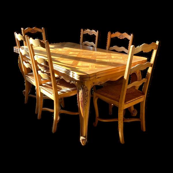 Selency Lot table avec 6 chaises
