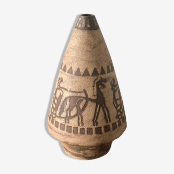 Vase en céramique signé années 70