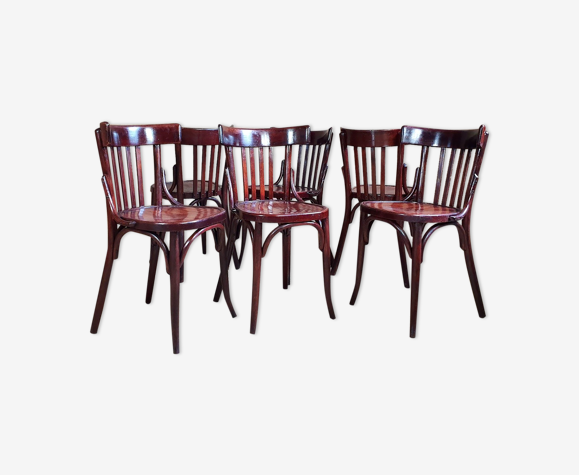 6 chaises bistrot Baumann n°104 années 30