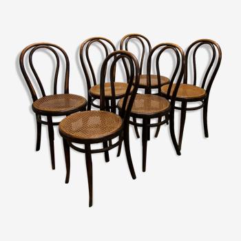 6 chaises Thonet bistrot 1900 modèle N°18