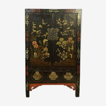 Armoire en bois laqué à décors d'oiseaux branchés Chine XIXeme