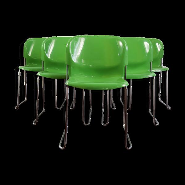 Ensemble de 6 chaises Drabert empilables en plastique vert
