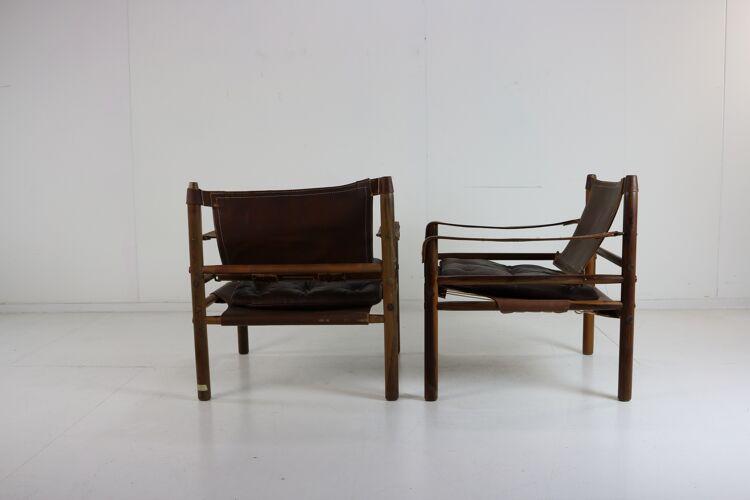Paire de fauteuils safari Sirocco par Arne Norell
