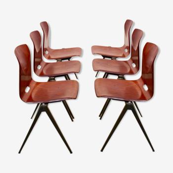 Ensemble de 6 chaises empilables Pagholz Galvanitas S22 industrielles des années 1960