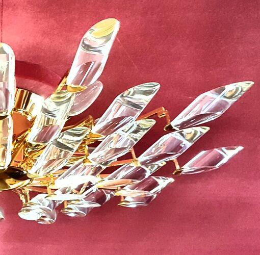 Plafonnier verre et laiton doré forme soleil par Gaetano Scolari Vintage vers 1970