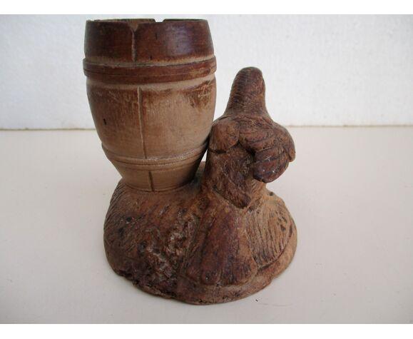 Pot à crayon bois sculpté oiseau