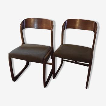 Lot de quatre chaise traineau Baumann 1950 / 60