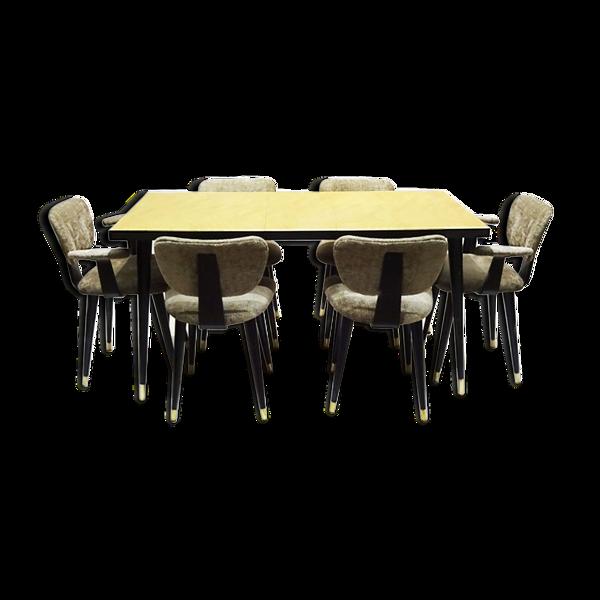 Ensemble de salle à manger italienne des années 1950 à économie d'espace du début du milieu du siècle avec 6 chaises papillon