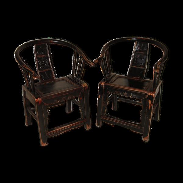 Selency Paire de fauteuils chinois d'époque XVIII ème