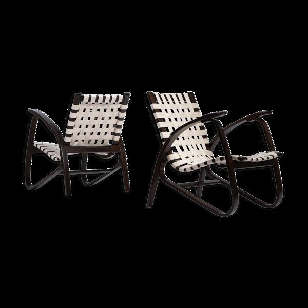 Paire de chaises longues de Jan Vanek, Tchécoslovaquie, années 1930.