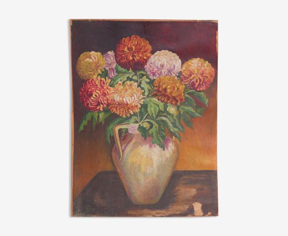 Tableau vintage, peinture fleurs