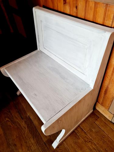 Banc coffret vintage année 70 bois blanc