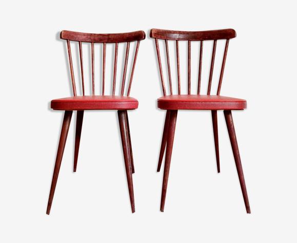 Paire de chaises bistrot bois et assise simili rouge