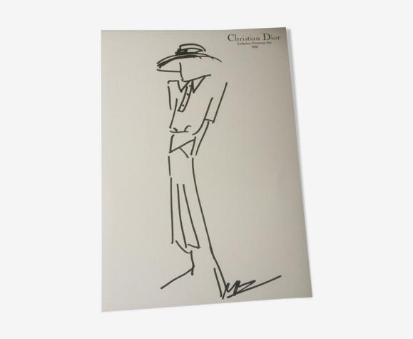 Illustration de mode de presse Christian Dior -collection hte couture 1986