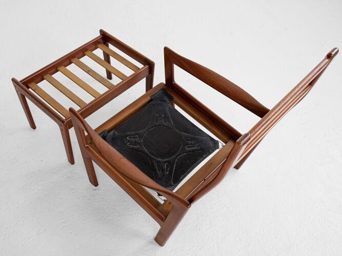 Fauteuil et ottoman en teck et cuir par Illum Wikkelsø pour Niels Eilersen