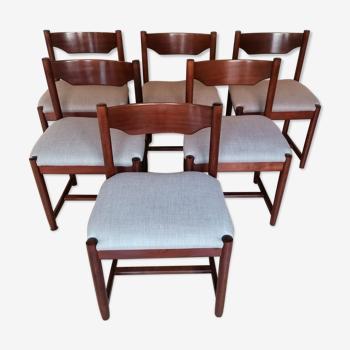 Lot de 6 chaises en teck Danemark 1960