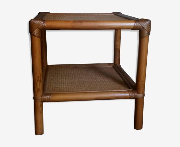 Table basse rotin et bambou vintage