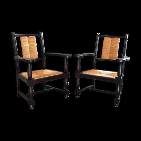 Paire de fauteuils en chêne et en paille, 1950