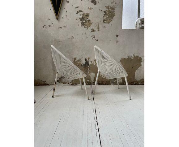 Paire de fauteuils enfant scoubidou vintage
