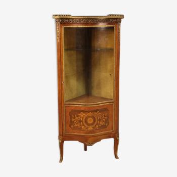Armoire d'angle en bois incrusté dans le style napoléon iii