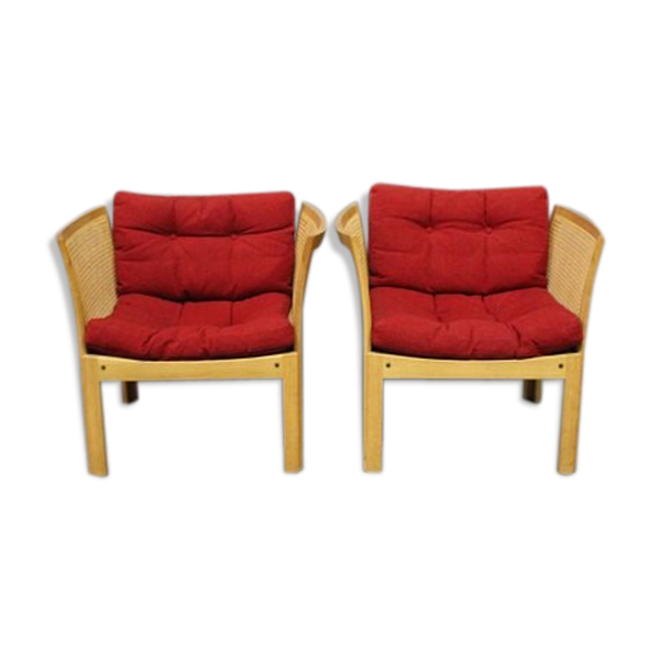 Pair of oak armchairs designed by Rud Thygesen and Johnny Sørensen and manufactured at Silkeborg Furniture Factory 1960