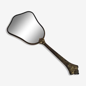 Ancien miroir à main en bronze ciselé Art déco