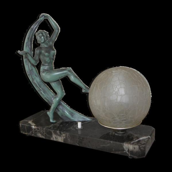 Lampe de table art déco en marbre avec figurine