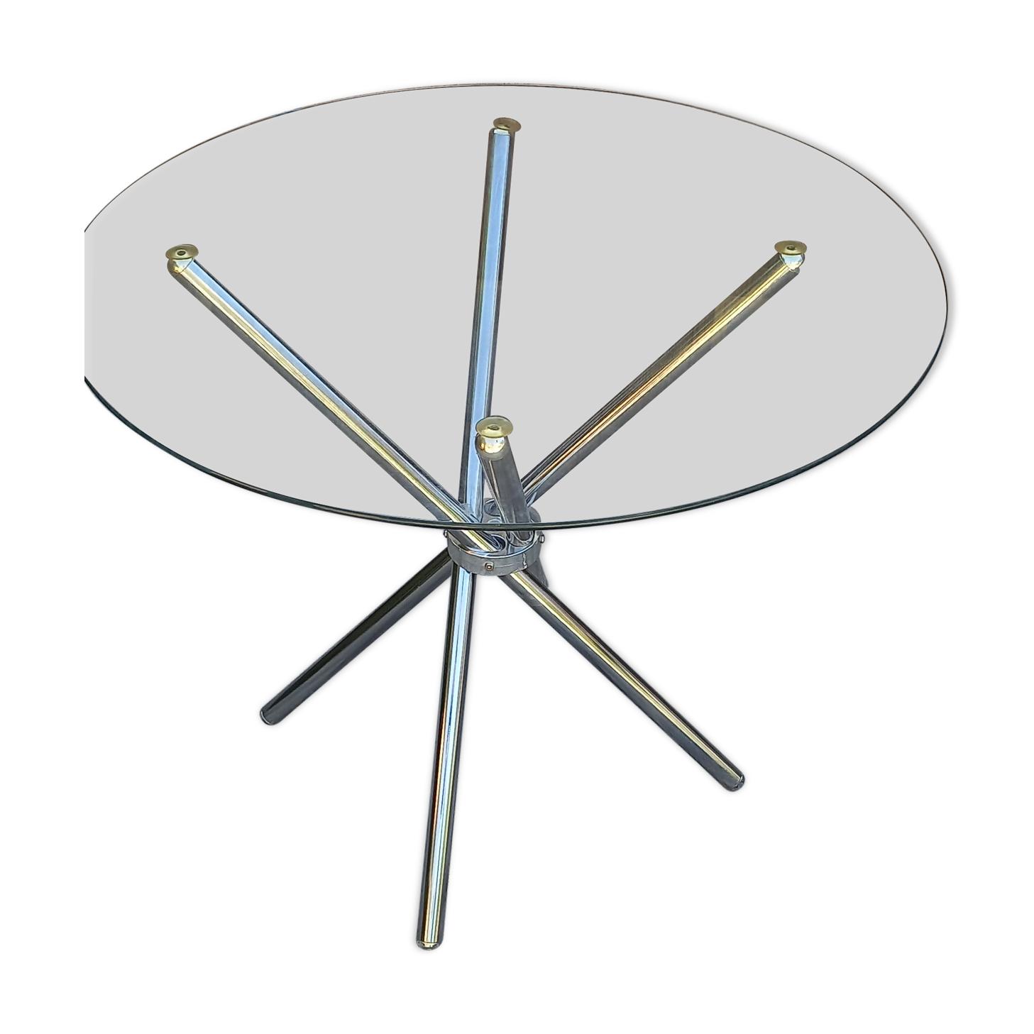 Table verre et chrome vintage