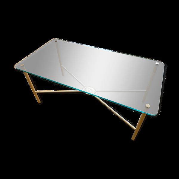 Table basse en verre avec structure métal doré