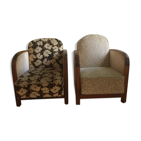 Paire de fauteuils club années 30 deux positions