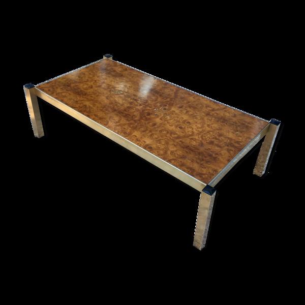Table basse loupe d'orme circa 1970