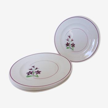 Lot de 4 assiettes plates vintage de la manufacture des Salins en porcelaine