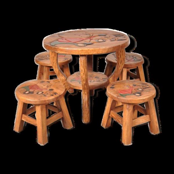 Selency Table d'enfants et tabourets winnie The Pooh en Chêne, 1950s