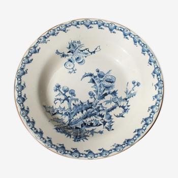 Assiette creuse en porcelaine opaque de Gien modèle Chardons