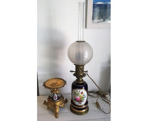 Lampe à petrole porcelaine de bayeux