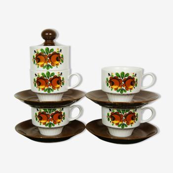 Set de 4 tasses & sous-tasses & pot à sucre en porcelaine Mitterteich Bavaria