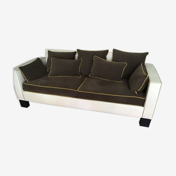 3-seater sofa in two-tone fabric first time