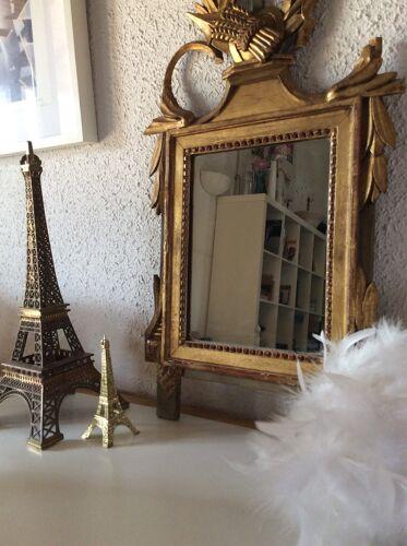Miroir doré à la feuille Louis XVI 18ème 34x60cm