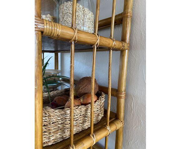 Bamboo rattan and wicker shelf