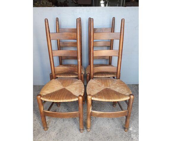 Set de 4 chaises modernistes design bois et paille epoque 1960/70
