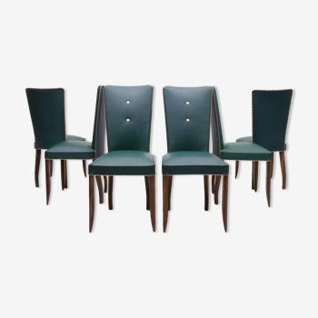 Set de 6 chaises à manger art déco français années 1940